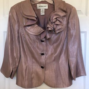 Shimmering Pink Ruffle Collar Rosette Jacket Sz 4